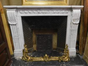 chm614 - camino in marmo bianco, ep. '800,  cm L 145 x p 28 x h 111