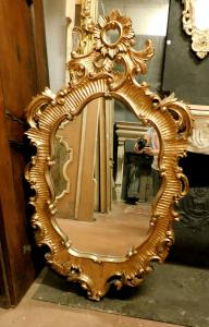 specc334 - mirror in carved and gilded wood, cm l 90 xh 152
