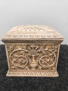 Terracotta box with floral and geometric art-nouveau decoration.Manufacture of Signa.Tuscany.