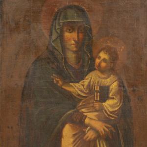 Madonna antigua con niño del siglo XVII.