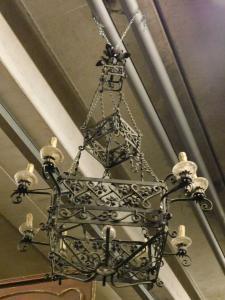 lamp172 - lampadario in ferro, XIX/XX secolo, misura cm l 80 x h 130
