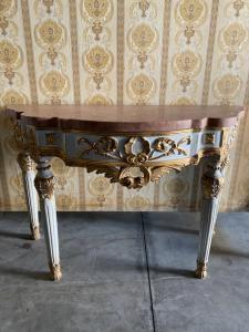 Consolles laccate con piano in marmo 144x62x94h