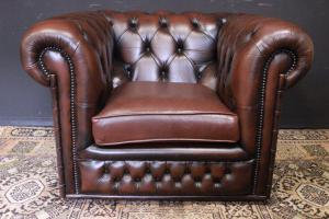 Chesterfield club armchair in original English brown leather