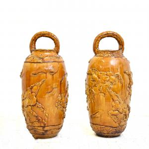 Pair of large decorated vases by Umberto Ghersi, Pair of large decorated vases by Umberto Ghersi
