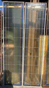 pan259 - coppia di vetrate, stile liberty, misura cm l 92 x h 193