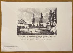 Druck mit Darstellung der Kirche Santa Maria della Misericordia außerhalb der Porta Castiglione in Bologna.