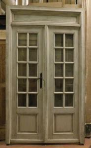ptl550 - Glastür komplett mit Rahmen und Übertür, cm l 145 xh 251