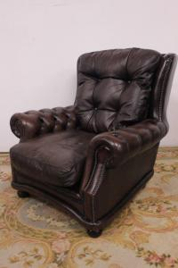 CHESTERFIELD ARMCHAIR BERGERE IN BROWN LEATHER ORIGINAL ENGLISH
