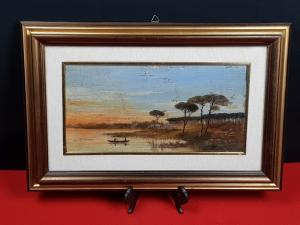 ANTIQUE PAINTED oil on board Marina 800