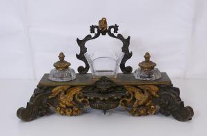 Tintero de bronce y cristal - CA / 1163