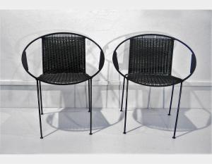 Iron chair, woven seat and back Art 1707A