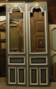 pts719 - n. 2 portas duplas de vidro lacado, período '8 /' 900, med. cm l 145 xh 282