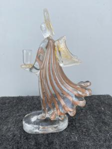 Angel glass candlestick with aventurine and gold inclusions.Aureliano Toso, Murano.