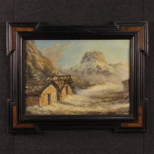 French mountain landscape painting oil on canvas