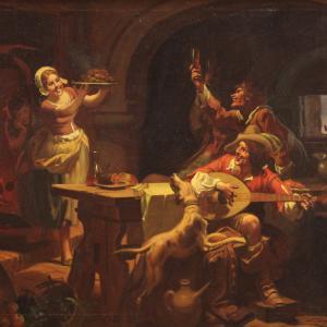 Итальянская картина с подписью Маттиа Траверсо интерьерная сцена