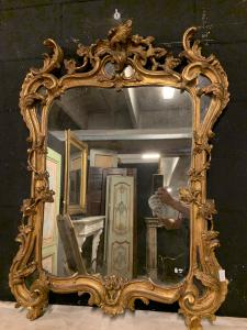 specc338 - mirror in gilded wood, 19th century, cm l 78 xh 105