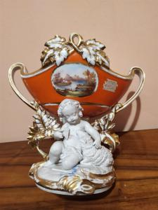Vaso in porcellana e biscuit con pitture dipinte a mano - epoca Luigi Filippo