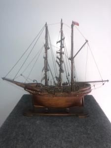 Model of a wooden sailboat.Italy