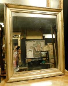 specc330 - simple nineteenth-century golden mirror, size cm l 75 xh 89 x d. 5
