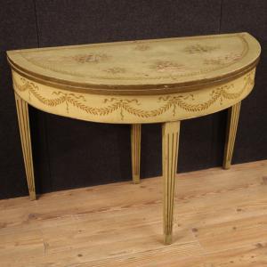 Tavolo italiano a mezzaluna in stile Luigi XVI