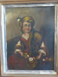 GIOVANE DONNA ORIENTALE OLIO SU TAVOLA 1850