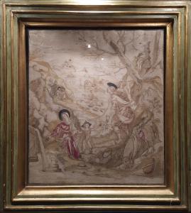 Fuga in Egitto, Sacra Famiglia, pannello, ricamo su seta, Italia, XVIII secolo