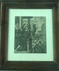 Gravura com a flagelação de Jesus. Autor I. Sadler 1582.