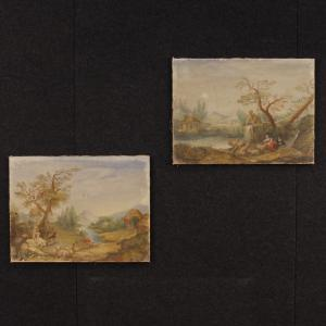 Pair of Italian landscape paintings tempera on canvas