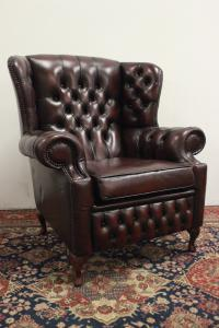 POLTRONA CHESTERFIELD CHESTER MONK IN PELLE BORDEAUX ORIGINALE INGLESE