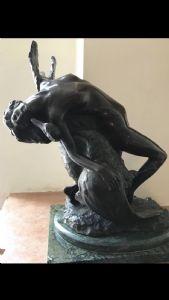 Bronzeskulptur mit Leda und dem Schwan