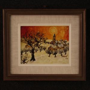 Pintura italiana firmada paisaje en estilo impresionista