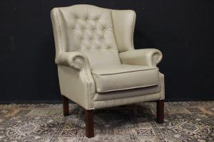 Chesterfield bergere armchair in original English light beige leather