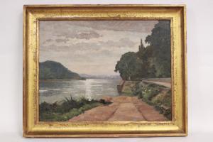 Quadro olio su tela di paesaggio lacustre, firmato M. Bergeron