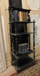 arm101 - étagère in legno di pioppo laccato nero, cm l 50 x h 140 x p. 32