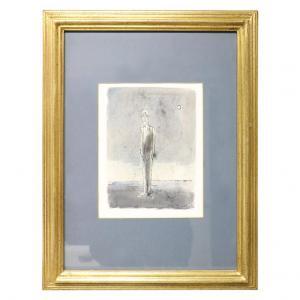"""Tempera- und Aquarellmalerei auf Papier Franco Rognoni (1913-1999) """"Graues Kleid"""" PREISVERHANDELBAR"""