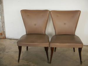 pair of bedroom armchairs and 50's pouf