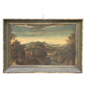 Old oil painting on canvas landscape with travelers 18th century. TREATY PRICE