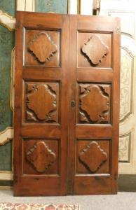 ptci501 - Tür in Nussbaum, Epoche '600, cm 121 x H 210