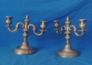 pair of candlesticks with two arms