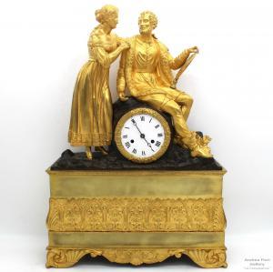 Relógio de Pêndulo Antigo Charles X (Restauração) h 55 em bronze dourado - período 800