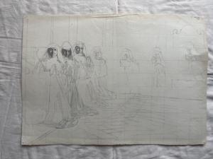 Dibujo-boceto a lápiz sobre papel con figuras de monjas en oración. (Archivo Arturo Pietra, Bolonia).