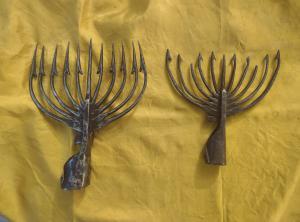 2 Arpioni in ferro forgiato XVIII secolo per la pesca delle anguille