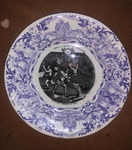 有马赛克主题的贴花主题的陶器板材Sarregumines.Francia
