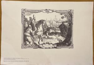 Reproduktion eines Drucks von San Petronio, der zum Bischof von Bologna ernannt wurde und in den Kupferstich der Stadt von 1718 eintritt.