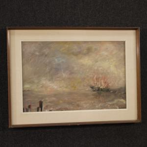 Dipinto italiano paesaggio marittimo in stile impressionista