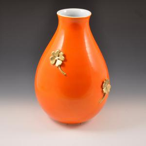 Vase with four-leaf clovers, Manifattura Rometti, Umbertide 40s