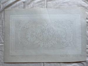 Bleistiftzeichnung auf Papier mit Rocaille-Motiv. Signiert von Giulio Pietra 28/12/1879