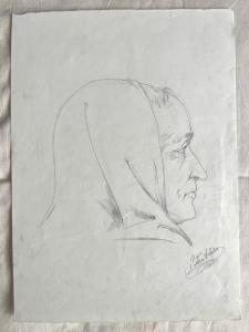 Bleistiftzeichnung auf Papier signiert Arturo Pietra.