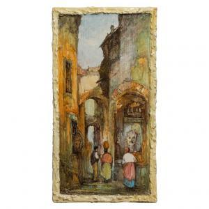 Pannello in ceramica italiana dipinta con paesaggio ligure