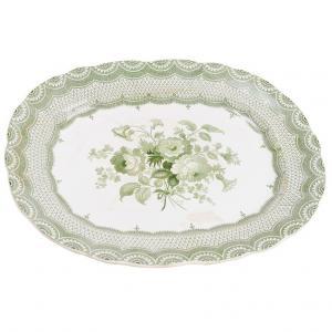 piatto inglese bianco/verde da parete o centrotavola
